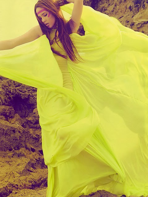 neon green yellow dress photograph