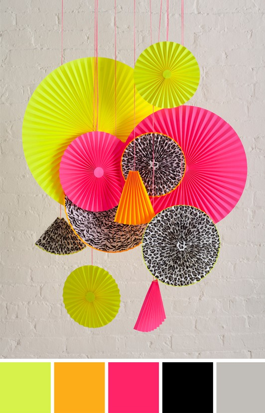fan paper neon pink yellow orange mobile art